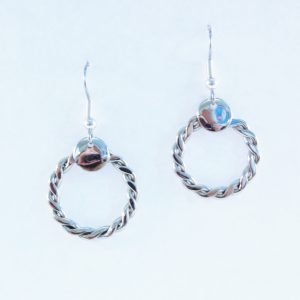 Alpaca Silver plaited earrings