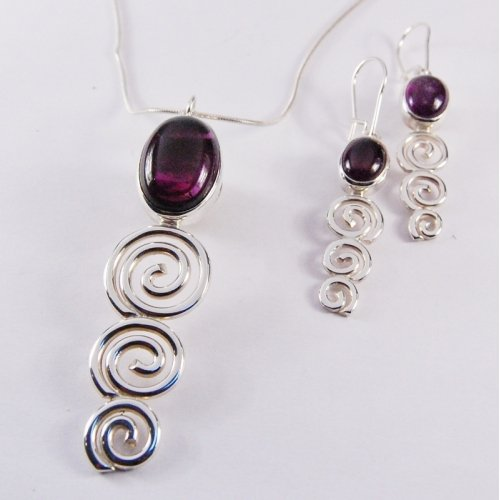 AMETHYST STERLING SILVER SCROLL SET