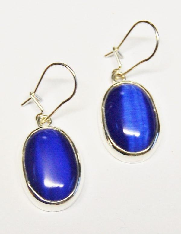 Blue Tigers eye earrings.