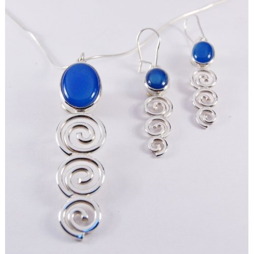 BLUE AGATE STERLING SILVER SCROLL SET