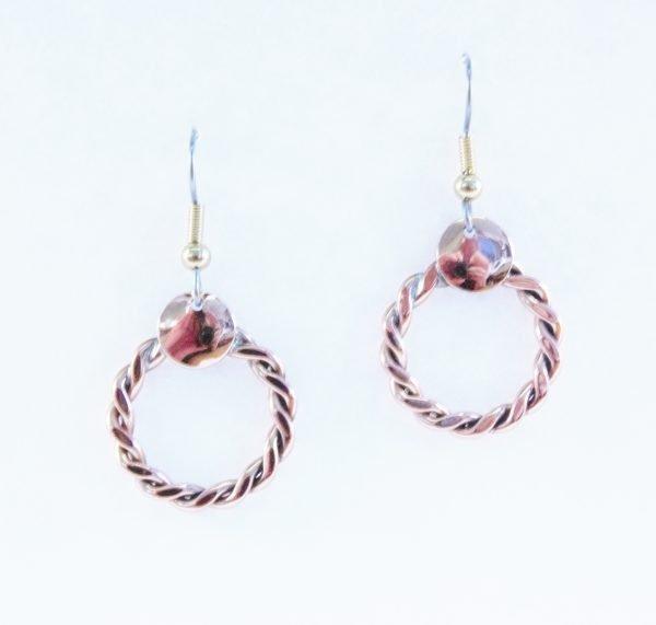 Copper plaited earrings