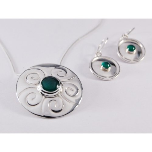 GREEN AGATE STERLING SILVER SET