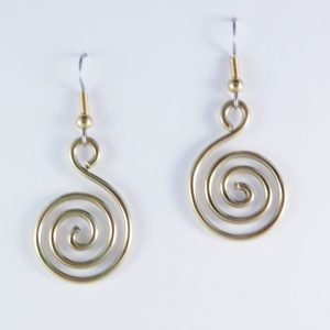 Spiral of Life brass earrings