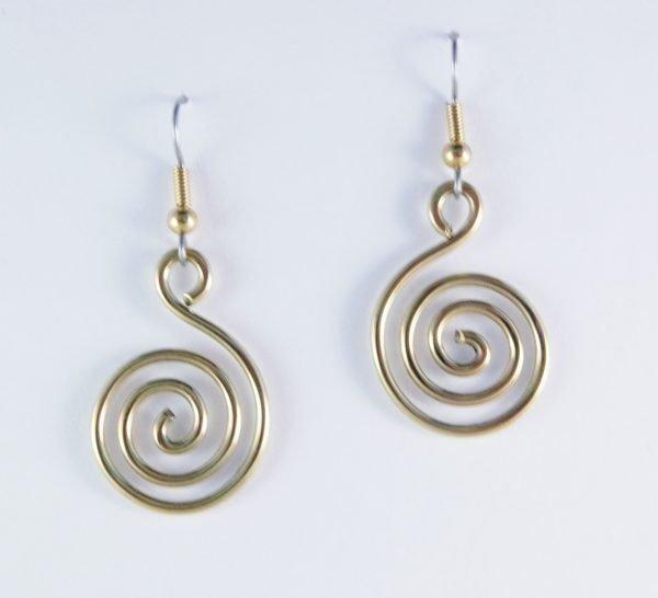 Spiral of Life brass earrings