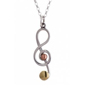 MIXED TREBLE CLEF PENDANT